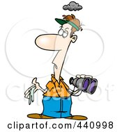 Royalty Free RF Clip Art Illustration Of A Cartoon Man With Bird Poop In His Hand by toonaday