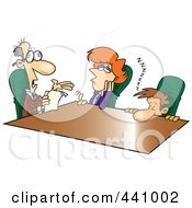 Royalty Free RF Clip Art Illustration Of Cartoon Bored Employees At A Meeting