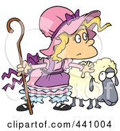 Royalty Free RF Clip Art Illustration Of A Cartoon Little Bo Peep With A Sheep by toonaday