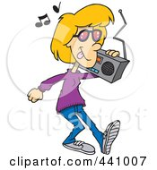 Royalty Free RF Clip Art Illustration Of A Cartoon Woman Carrying A Boom Box