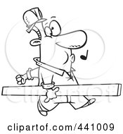 Royalty Free RF Clip Art Illustration Of A Cartoon Black And White Outline Design Of A Carpenter Whistling And Carrying A Board
