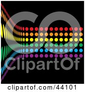 Clipart Illustration Of A Curving Wall Of Rainbow Colored Dots On Black