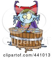 Royalty Free RF Clip Art Illustration Of A Cartoon Vampire Bobbing For Apples by toonaday