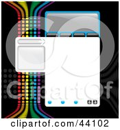 Clipart Illustration Of A Website Design Template With Tabs Text Space And A Rainbow Colored Wave On Black