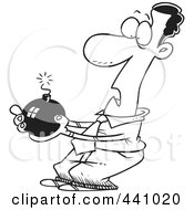 Royalty Free RF Clip Art Illustration Of A Cartoon Black And White Outline Design Of A Black Businessman Holding A Bomb by toonaday