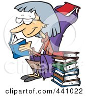 Cartoon Senior Woman Reading Books