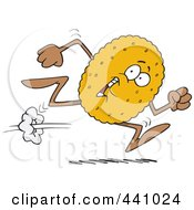 Royalty Free RF Clip Art Illustration Of A Cartoon Running Biscuit