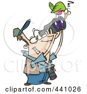 Royalty Free RF Clip Art Illustration Of A Cartoon Bird Sitting On A Mans Binoculars
