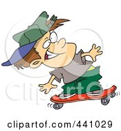 Royalty Free RF Clip Art Illustration Of A Cartoon Boy Skateboarding by toonaday