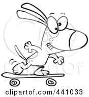 Royalty Free RF Clip Art Illustration Of A Cartoon Black And White Outline Design Of A Dog Skateboarding by toonaday