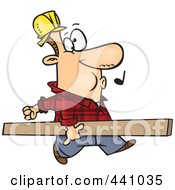 Royalty Free RF Clip Art Illustration Of A Cartoon Carpenter Whistling And Carrying A Board