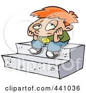 Royalty Free RF Clip Art Illustration Of A Cartoon Bored Boy Sitting On Steps by toonaday