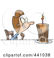Royalty Free RF Clip Art Illustration Of A Cartoon Birthday Woman With A Stack Of Pancakes by toonaday