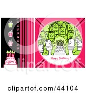 Clipart Illustration Of A Pink Green And Black Happy Birthday Stick People Greeting With A Party Gifts And Cake
