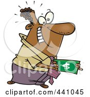 Royalty Free RF Clip Art Illustration Of A Cartoon Black Businessman Holding A Cash Bonus
