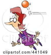 Royalty Free RF Clip Art Illustration Of A Cartoon Ball Knocking Out A Businesswoman