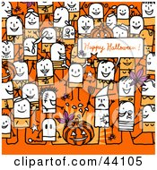 Clipart Illustration Of A Crowd Of Stick People At A Halloween Party