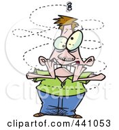 Royalty Free RF Clip Art Illustration Of A Cartoon Fly Buzzing Around An Annoyed Man by toonaday