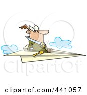 Royalty Free RF Clip Art Illustration Of A Cartoon Businessman Flying On A Paper Airplane by toonaday