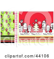 Clipart Illustration Of A Green And Red Stick People Happy Christmas Greeting