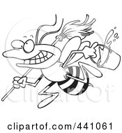 Royalty Free RF Clip Art Illustration Of A Cartoon Black And White Outline Design Of A Busy Janitorial Bee