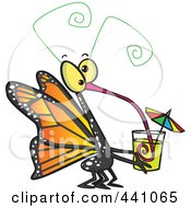 Royalty Free RF Clip Art Illustration Of A Cartoon Butterfly Sucking Nectar Out Of A Cup