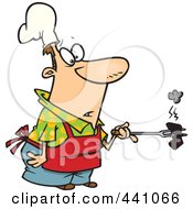 Royalty Free RF Clip Art Illustration Of A Cartoon Cook Holding A Burnt Piece Of Meat by toonaday