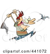 Royalty Free RF Clip Art Illustration Of A Cartoon Man Chasing A Butterfly With A Net