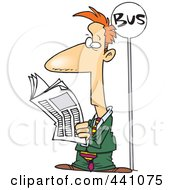 Royalty Free RF Clip Art Illustration Of A Cartoon Businessman Reading The Newspaper At A Bus Stop
