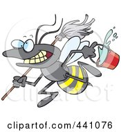Royalty Free RF Clip Art Illustration Of A Cartoon Busy Janitorial Bee by toonaday