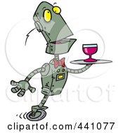 Cartoon Butler Robot Serving Wine