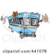 Royalty Free RF Clip Art Illustration Of A Cartoon Yahoo Bus Loaded With Cowboys
