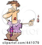 Royalty Free RF Clip Art Illustration Of A Cartoon Businessman Covering His Eyes And Pushing A Button by toonaday