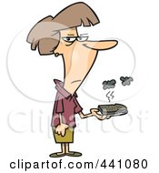 Royalty Free RF Clip Art Illustration Of A Cartoon Woman Holding A Burnt Piece Of Toast