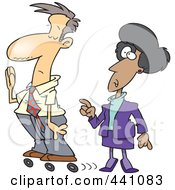 Royalty Free RF Clip Art Illustration Of A Cartoon Busy Businessman Rollerskating Past His Boss by toonaday