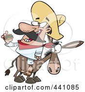 Royalty Free RF Clip Art Illustration Of A Cartoon Mexican Man Eating A Taco On A Burro by toonaday