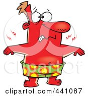 Royalty Free RF Clip Art Illustration Of A Cartoon Red Man With A Bad Sun Burn by Ron Leishman