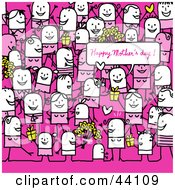 Clipart Illustration Of A Crowd Of Stick People At A Mothers Day Party by NL shop