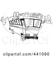 Royalty Free RF Clip Art Illustration Of A Cartoon Black And White Outline Design Of A Yahoo Bus Loaded With Cowboys