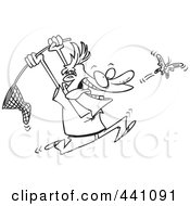 Royalty Free RF Clip Art Illustration Of A Cartoon Black And White Outline Design Of A Man Chasing A Butterfly With A Net