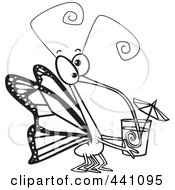 Royalty Free RF Clip Art Illustration Of A Cartoon Black And White Outline Design Of A Butterfly Sucking Nectar Out Of A Cup