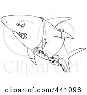 Royalty Free RF Clip Art Illustration Of A Cartoon Black And White Outline Design Of A Business Shark In A Suit by toonaday