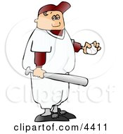 Boy Wearing Baseball Gear While Holding A Baseball And Bat Clipart by djart