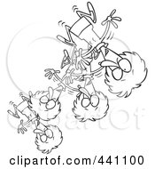 Royalty Free RF Clip Art Illustration Of A Cartoon Black And White Outline Design Of A Bouncing Woman