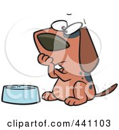 Royalty Free RF Clip Art Illustration Of A Cartoon Hungry Dog Watching His Bowl