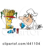 Royalty Free RF Clip Art Illustration Of A Cartoon Baker Playing Poker With Wheat by toonaday