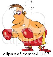 Royalty Free RF Clip Art Illustration Of A Cartoon Fly Bothering A Boxer by toonaday