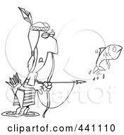 Royalty Free RF Clip Art Illustration Of A Cartoon Black And White Outline Design Of A Native American Man Bow Fishing by toonaday