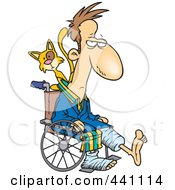 Royalty Free RF Clip Art Illustration Of A Cartoon Cat Behind A Man With Broken Limbs In A Wheelchair by toonaday
