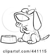 Royalty Free RF Clip Art Illustration Of A Cartoon Black And White Outline Design Of A Hungry Dog Watching His Bowl